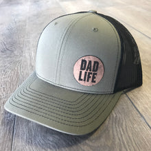 Dad Life Leather Patch Snapback Hat - Loden Green and Black