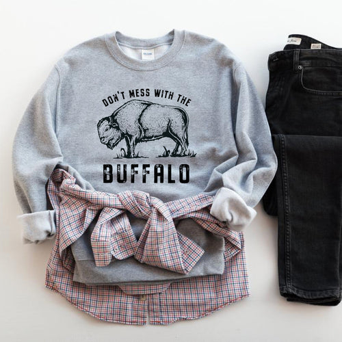 Don't Mess with the Buffalo Athletic Heather Crewneck Sweatshirt