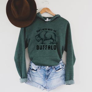 Don't Mess with the Buffalo Heather Forest Hooded Sweatshirt