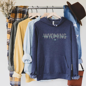 Living My Best Life in Wyoming Script Hooded Navy Sweatshirt