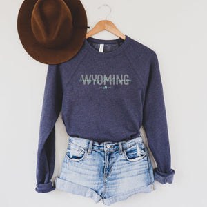 Living My Best Life in Wyoming Script Navy Crewneck