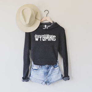 Living My Best Life in Wyoming Script Steamboat Hooded Sweatshirt in Dark Grey Heather