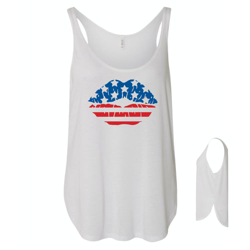 American Flag Lips Women's Flowy Tank with Slid Slit