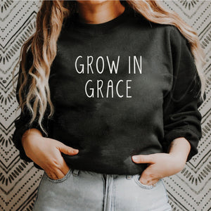 Grow in Grace - Rae Dunn Inspired Black Crewneck Sweatshirt