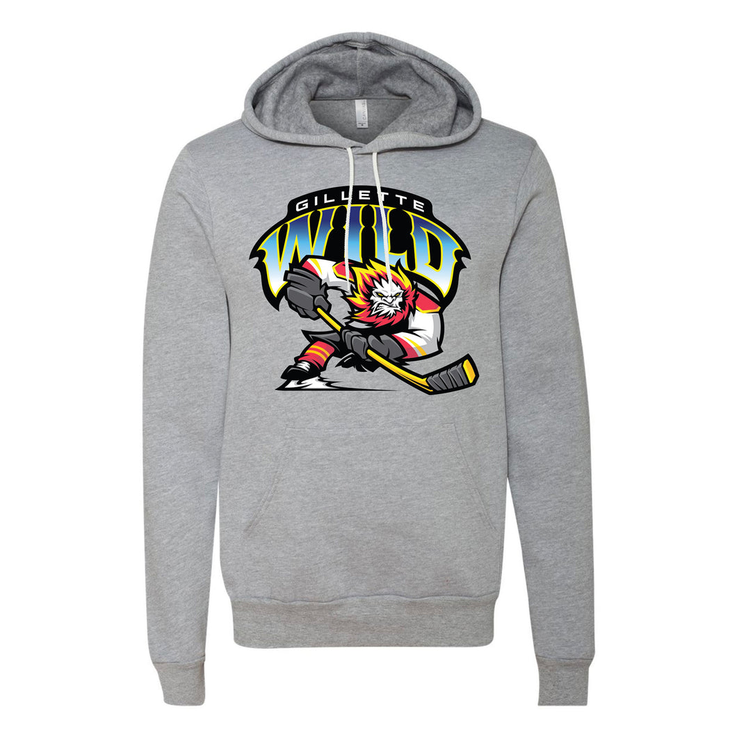 Gillette Wild Hockey Unisex Fleece Pullover Athletic Grey Hoodie