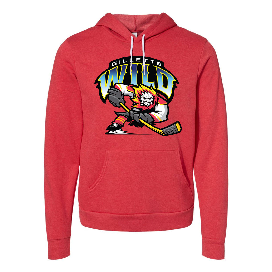 Gillette Wild Hockey Unisex Fleece Pullover Heather Red Hoodie