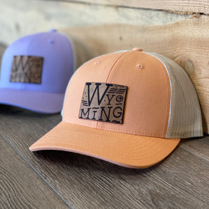 Wyoming Proud Leather Patch Peach Snapback Hat