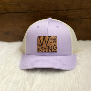 Wyoming Proud Leather Patch Lilac Snapback Hat