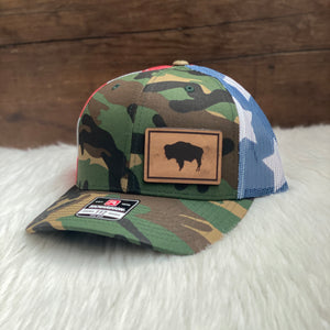 Wyoming Flag Leather Patch Camo Flag Hat