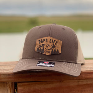 Papa Life Leather Patch Snapback Hat - Brown and Khaki