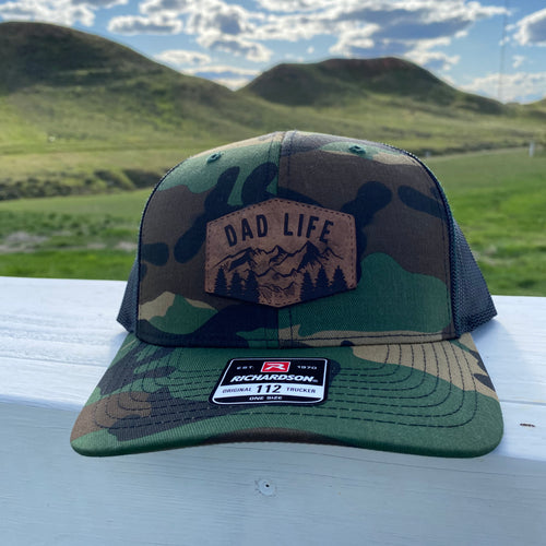 Mountain Dad Life Leather Patch Camo Snapback Hat
