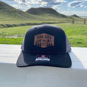 Mountain Dad Life Leather Patch Black Snapback Hat