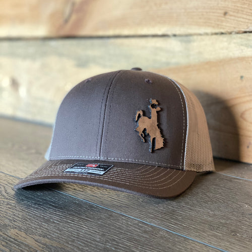 Wyoming Cowboy Leather Patch Snapback Hat