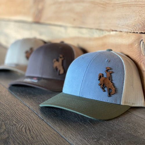 Wyoming Cowboy Leather Patch Snapback Tri-Color Hat