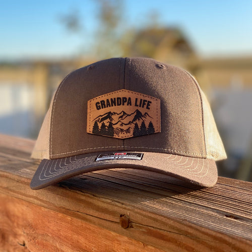Grandpa Life Leather Patch Snapback Hat - Brown and Khaki