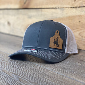 Wyoming Cowboys Leather Cow Tag Patch Charcoal Snapback Hat