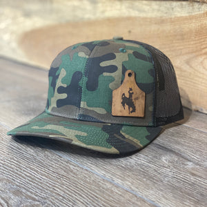 Wyoming Cowboys Leather Cow Tag Patch Camo Snapback Hat