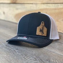 Wyoming Cowboys Leather Cow Tag Patch Black Snapback Hat