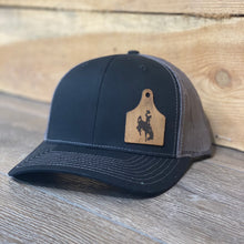 Wyoming Cowboys Leather Cow Tag Patch Black/Charcoal Snapback Hat