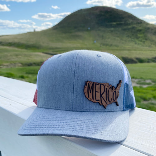 Merica Leather Patch Snapback Heather Grey America Flag Hat