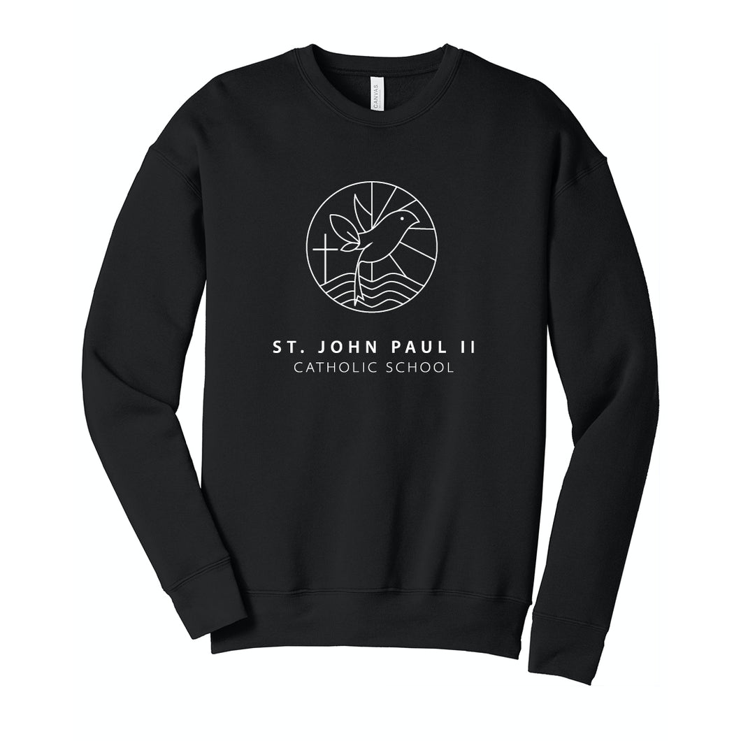 St. John Paul II Catholic School BELLA + CANVAS - Unisex Sponge Fleece Drop Shoulder Crewneck Black Sweatshirt
