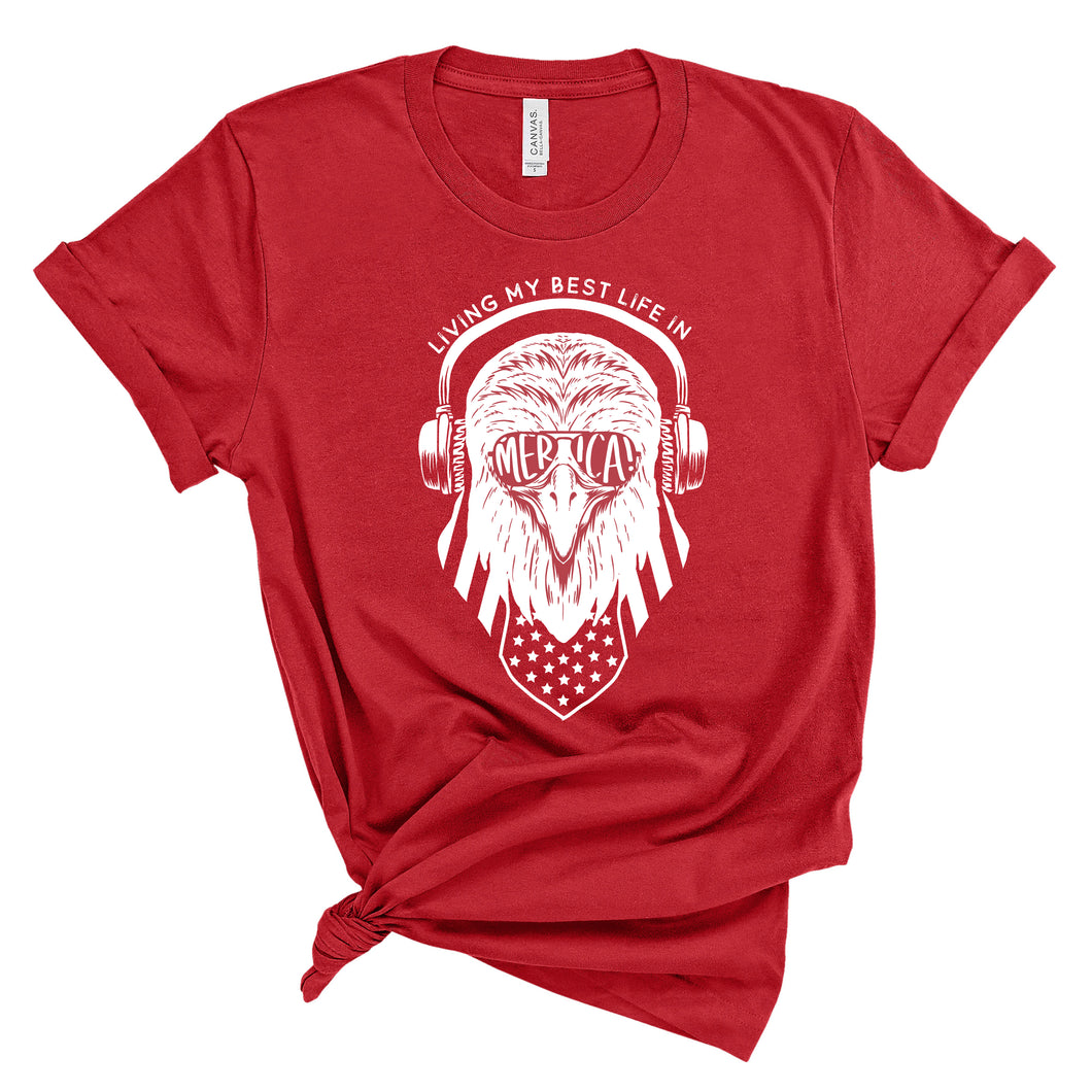 Living My Best Life in Merica Eagle Unisex Red T-shirt