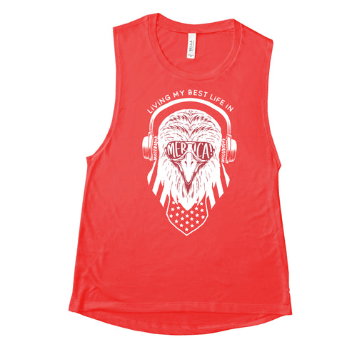 Living My Best Life in Merica Eagle Women's Red Flowy Scoop Muscle Tank