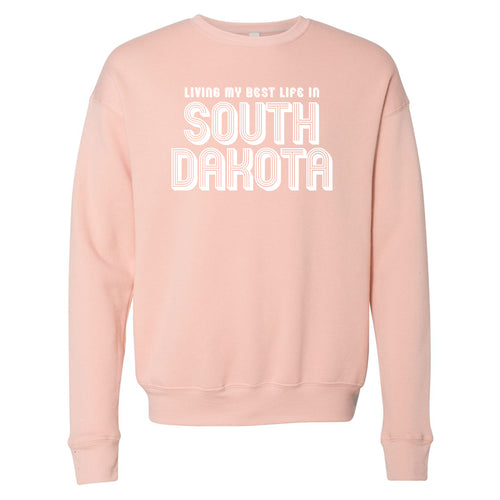 Living My Best Life in South Dakota Peach Crewneck Sweatshirt