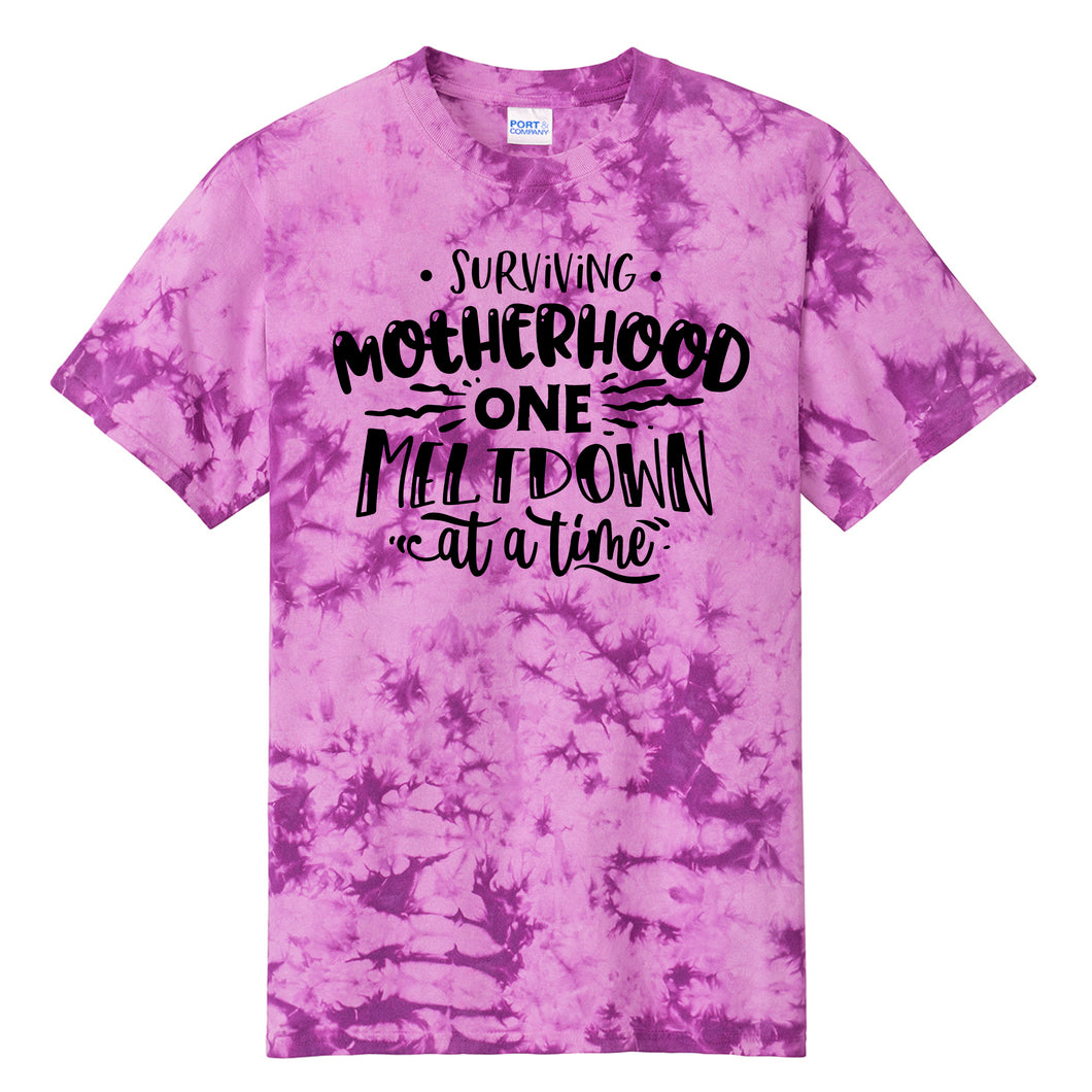 Surviving Motherhood One Meltdown at a Time Purple Tie Dye T-shirt