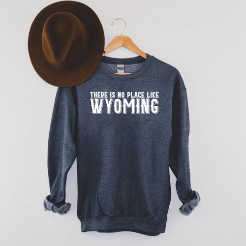 There is No Place like Wyoming Heather Navy Crewneck Sweatshirt