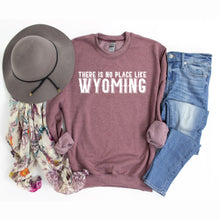 There is No Place Like Wyoming Heather Dusty Maroon Crewneck Sweatshirt