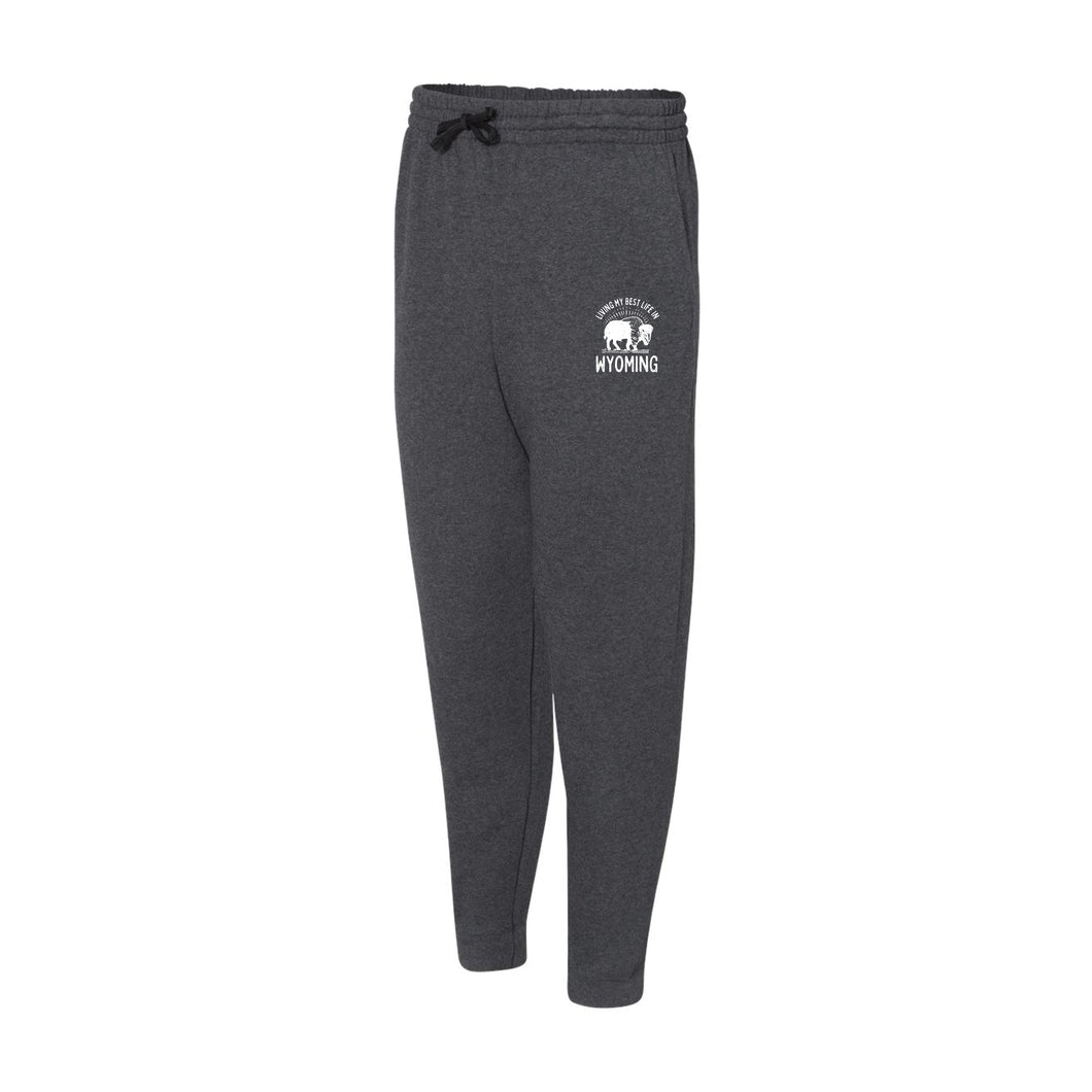 Living My Best Life in Wyoming Buffalo - Black Heather Adult Joggers