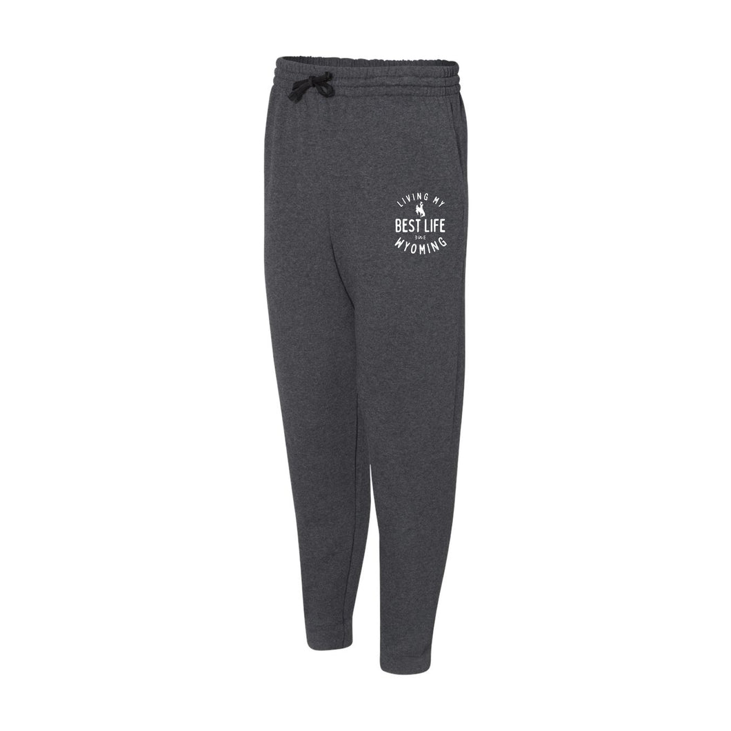Living My Best Life in Wyoming Steamboat - Black Heather Adult Joggers