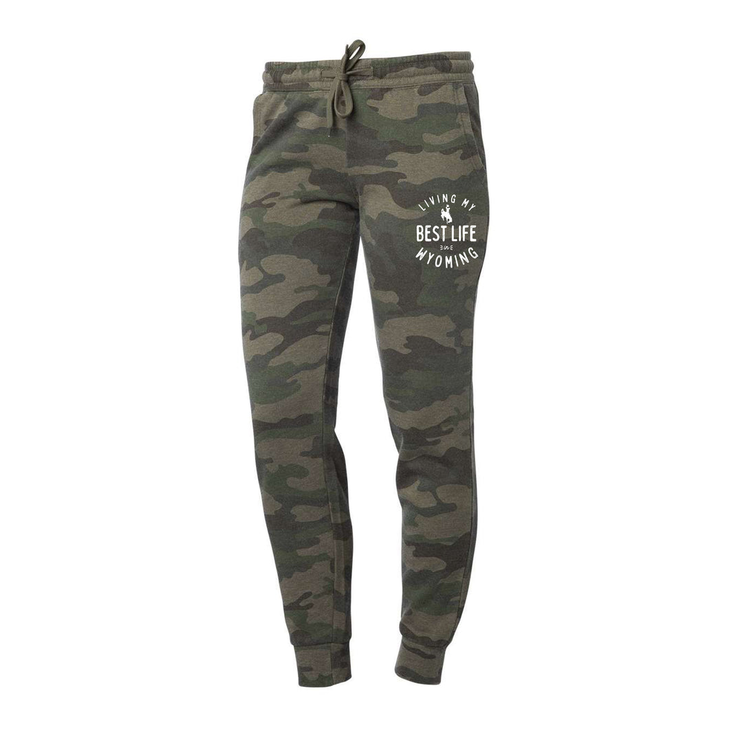 Women's Living My Best Life in Wyoming Steamboats Camo Sweatpants Joggers