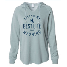 Living My Best Life in Wyoming Steamboat Women's Lightweight Sage Hooded Sweatshirt