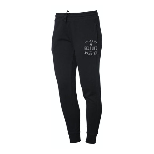 Women's Living My Best Life in Wyoming Steamboats Black Sweatpants Joggers