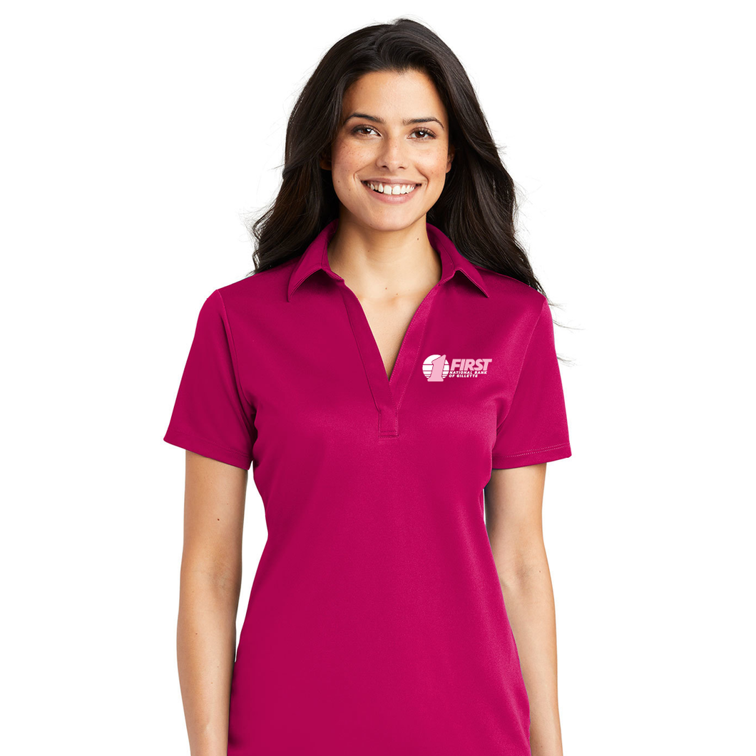 First National Bank Paint Gillette Pink - Port Authority® Ladies Silk Touch™ Performance Polo