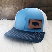 Wyoming Flag Leather Patch Columbia Blue Snapback Hat