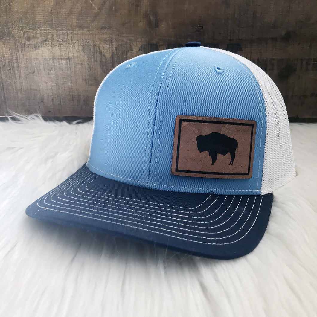 Wyoming State Flag Leather Patch Snapback Hat