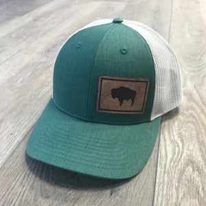 Wyoming Flag Leather Patch Heather Green Hat