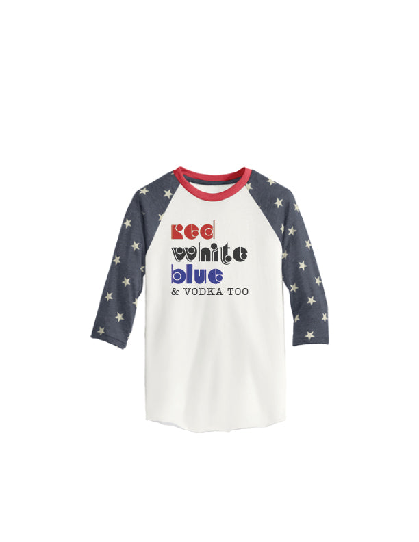 Red White Blue and Beer too – 4th of July Baseball Tee {PREORDER}