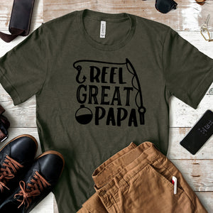 Reel Great Papa - Fishing Fathers Day T-shirt