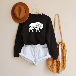 Mountain Buffalo Black Crewneck Sweatshirt