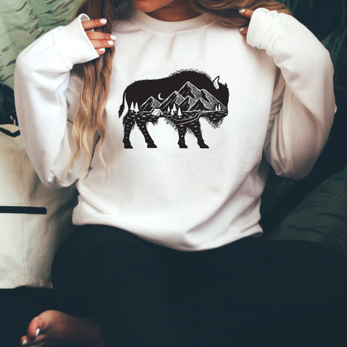 Mountain Buffalo White Crewneck Sweatshirt