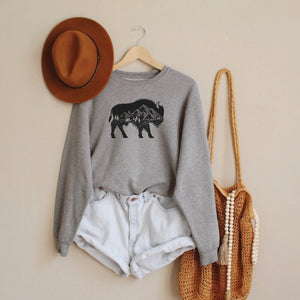 Mountain Buffalo Grey Crewneck Sweatshirt