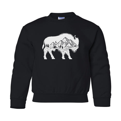 Youth Mountain Buffalo Black Crewneck Sweatshirt