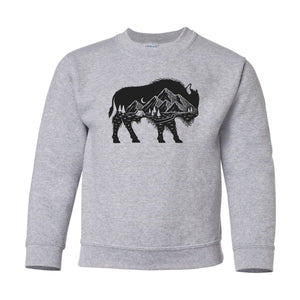 Youth Mountain Buffalo Grey Crewneck Sweatshirt