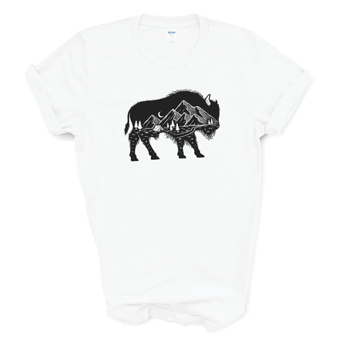 Youth Mountain Buffalo Roam White T-shirt