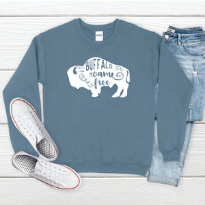 Where the Buffalo Roam Indigo Blue Crewneck Sweatshirt