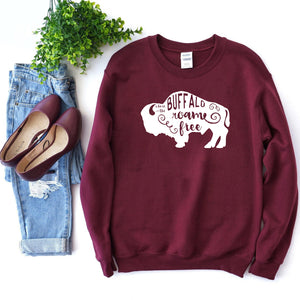 Where the Buffalo Roam Maroon Crewneck Sweatshirt